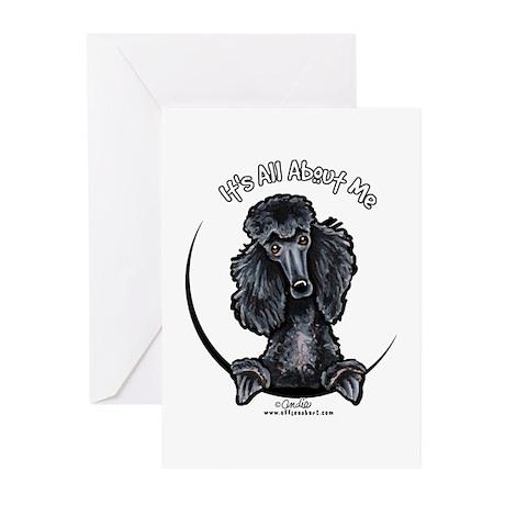 Black Standard Poodle IAAM Greeting Cards (Pk of 1