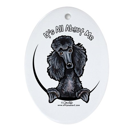 Black Standard Poodle IAAM Ornament (Oval)