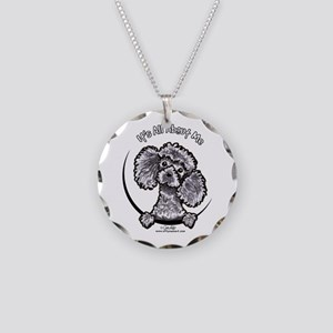Gray Poodle IAAM Necklace Circle Charm