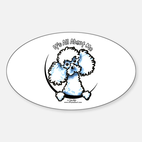 White Poodle IAAM Sticker (Oval)