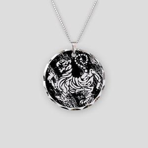 vintage japanese tiger Necklace Circle Charm
