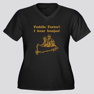 Paddle Faster! Style A Women's Plus Size V-Neck Da