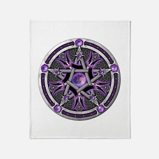 Pentacle of the Purple Moon Throw Blanket
