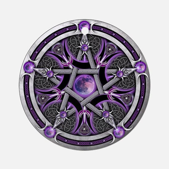 Pentacle of the Purple Moon Ornament (Round)