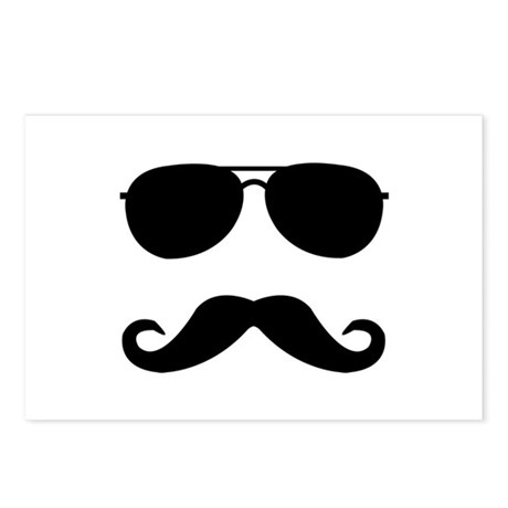 glasses and mustache Postcards (Package of 8)