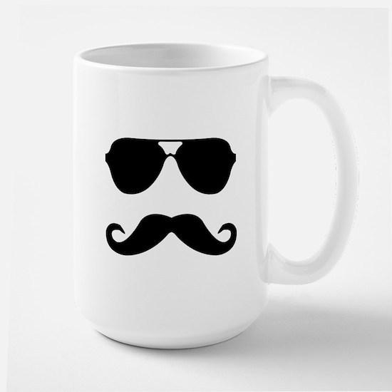 glasses and mustache Large Mug