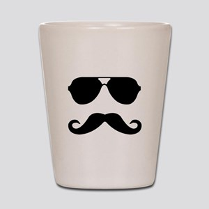 glasses and mustache Shot Glass