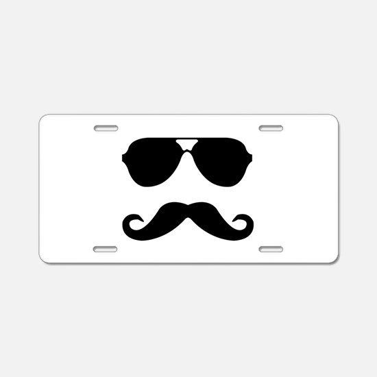 glasses and mustache Aluminum License Plate