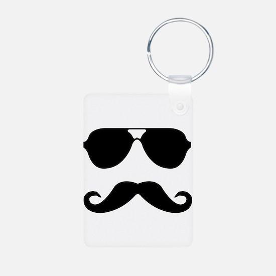 glasses and mustache Aluminum Photo Keychain