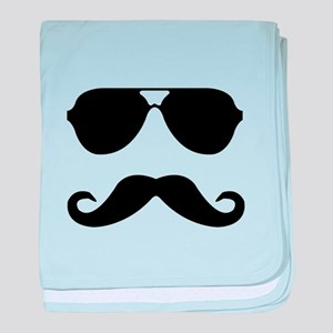glasses and mustache baby blanket