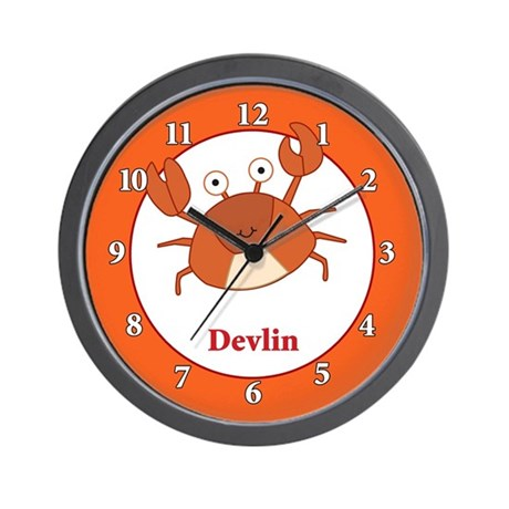 Cute Orange Crab Wall Clock - Devlin