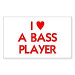 I LOVE A BASS PLAYER Sticker (Rectangle 50 pk)