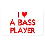 I LOVE A BASS PLAYER Sticker (Rectangle)