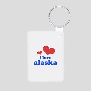 I Love Alaska Aluminum Photo Keychain