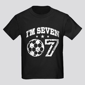 7 Year Old Birthday Seven Soccer Kids Dark T Shirt