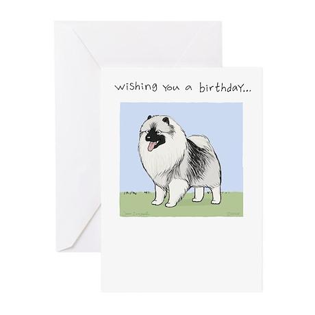 Keeshond Birthday Greeting Cards (Pk of 10)