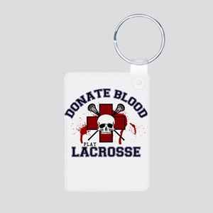 Donate Blood Play Lacrosse Aluminum Photo Keychain