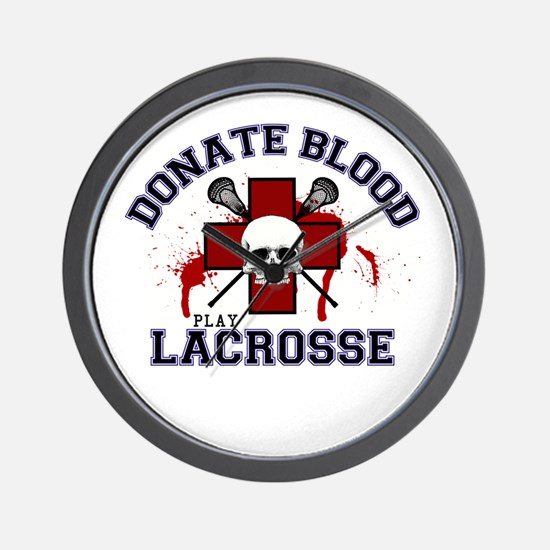 Donate Blood Play Lacrosse Wall Clock