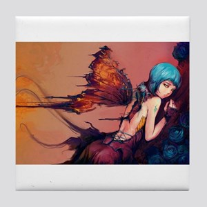 Torn Blue Butterfly Faerie Tile Coaster