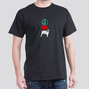 Peace Love Pug Dark T-Shirt