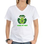 recycle bunny Women's V-Neck T-Shirt