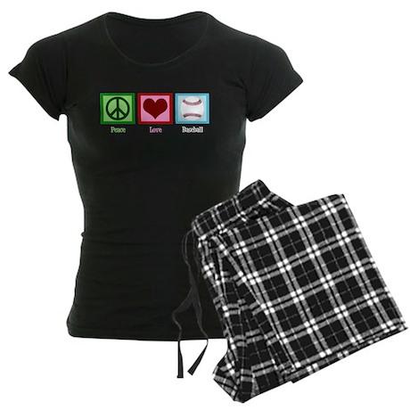 Peace Love Baseball Women's Dark Pajamas