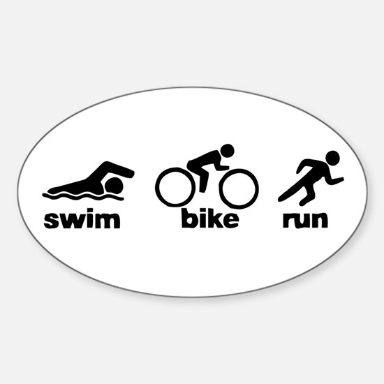 Swim Bike Run Sticker (Oval)