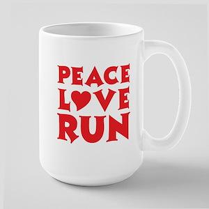 Peace Love Run - red Large Mug