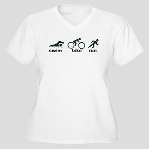 Swim Bike Run Women's Plus Size V-Neck T-Shirt
