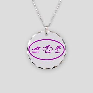 Swim Bike Run Necklace Circle Charm