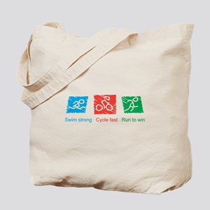 Swim Strong, Cycle Fast, Run to Win Tote Bag