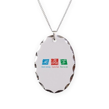 Swim Strong, Cycle Fast, Run to Win Necklace Oval