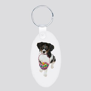 Puppy Easter Basket Aluminum Oval Keychain