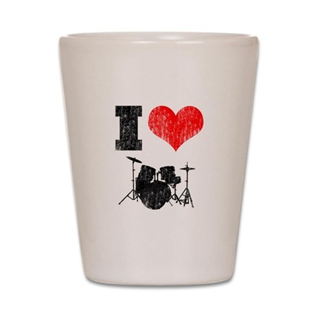 I Heart Drums Shot Glass