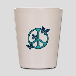 Peaceful Blue Butterflies Pea Shot Glass