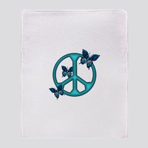 Peaceful Blue Butterflies Pea Throw Blanket