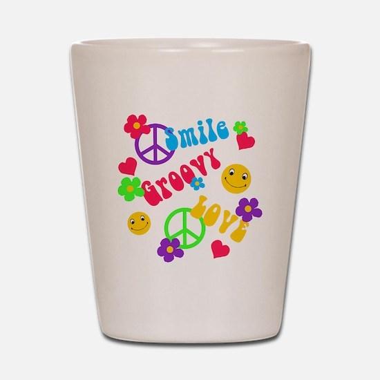 Smile Groovy Love Peace Shot Glass