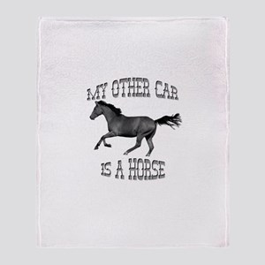 My Other Car Is A Horse Throw Blanket