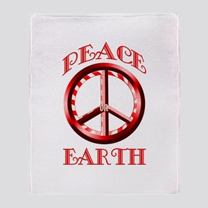Candy Cane Peace on Earth Throw Blanket