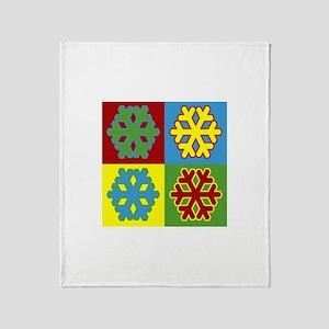 Pop Art Snowflakes Throw Blanket