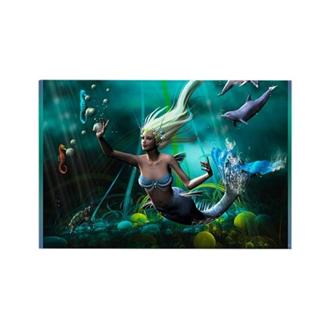 Best Seller Merrow Mermaid Rectangle Magnet (100 p