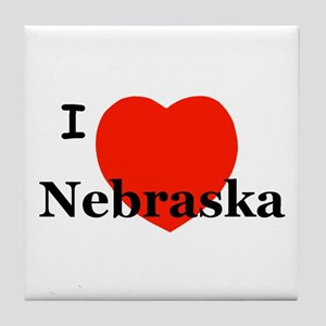 I Love Nebraska Tile Coaster