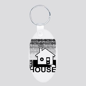 Get in the House Music Aluminum Oval Keychain