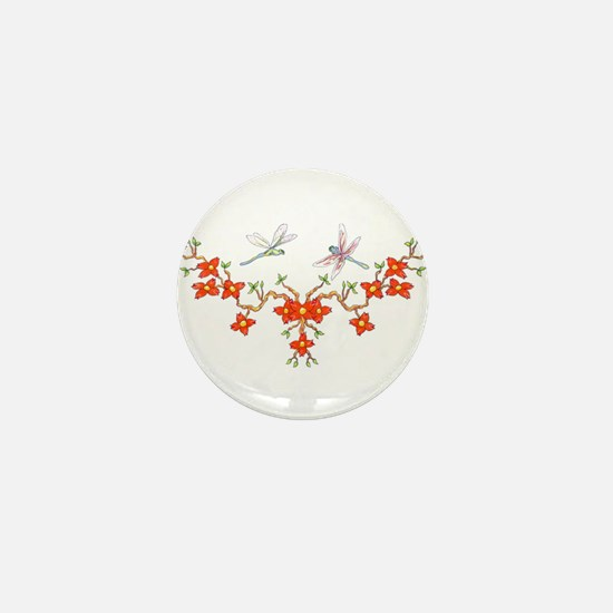 Cherry Blossom Dragonflies Mini Button