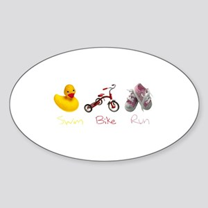 Baby Girl Tri Sticker (Oval)