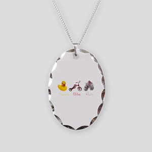 Baby Girl Tri Necklace Oval Charm