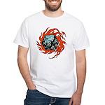 Flaming D20 White T-Shirt