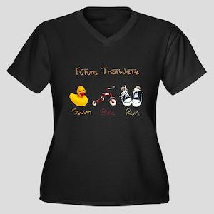 Future Triathlete Women's Plus Size V-Neck Dark T-