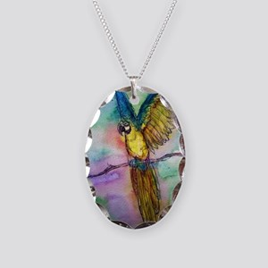 parrot, Colorful, Macaw, Necklace Oval Charm