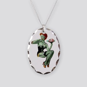 zombie pin-up girl Necklace Oval Charm